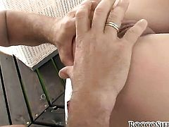 Rocco Siffredi has a nice time banging Sasha Rose in the butthole before she gives deep blowjob