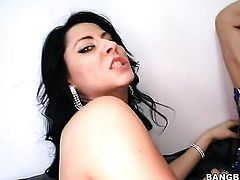 Brunette Jenny Hendrix cant get enough and stimulates Madison Ivys over and over again