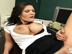 Brunette Josh with giant melons and hairless cunt gets her mouth stretched by meaty hard tool of hor