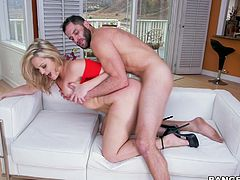 busty blonde gets fucked on the couch