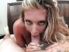 Samantha Saint with juicy boobs is too horny to stop sucking Jordan Ashs throbbing meat stick