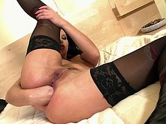 Visit official Elegant Raw's HomepageStaggering nude beauty shows off gapping her fine booty with both her fist and one large toy cock, in raw scenes of anal solo masturbation