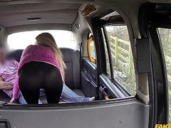 slutty babe pays a taxi ride with her pussy
