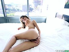Rebel Lynn is a foxy lady. Slim and tiny frame with nice rack and round ass, makes a perfect body of a young bitch willing to suck on huge dicks. She just loves the feeling of thick cock throbbing inside her tight pussy. She begs for cock and then moans hard, as you sink your cock deep inside her!