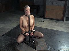 Syren, Matt and Jack make up the perfect trio today. Busty brunette fixed in a metall device, with nylon mask covered her head and handcuffed. During the whole session she is awfully throat fucked, with no chance to escape. Crazy bondage!