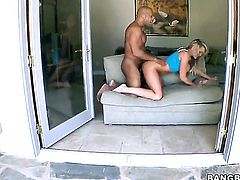 Blonde hooker Alanah Rae shows off her assets while giving tug job