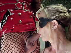 Shemale Jessica has blonde female milf Simone tied up. This tranny mistress is in charge tonight. The blonde opens wide and takes that juicy cock down her throat. The blindfolded slut chokes and gags on a hot lady dick.