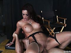 Brunette Jordan Ash  Voodoo with juicy knockers knows no limits when it comes to deadeye fucking