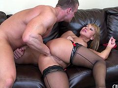 Ava Devine gets naughty with a muscular man that bangs her hard