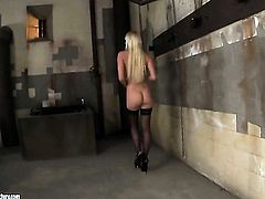 Blonde Lena Cova strips down to her bare skin for your viewing enjoyment