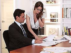 Reality Porn Star Brooklyn Plays Hardcore Office Whore And Is Blasted With Doses Of Come On Her Large Titties