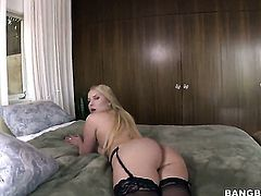Blonde Vanessa Cage with phat booty strokes rock solid meat pole like craze before he shoots his loa