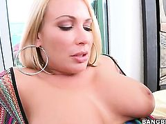 Blonde with gigantic breasts sticks mans fuck stick up her pussy hole in one-on-one hardcore action