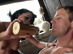 Tara White gets her fudge packed by Rocco Siffredi in anal sex action before she gets her mouth drilled