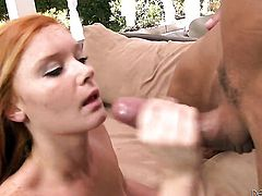 Marco Banderas stretches irresistibly hot Alex Tanners mouth with his stiff ram rod to the point of no return
