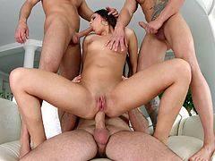 Is this hot doll ready to entertain three horny guys? Click to find out! Naughty Cindy seems so excited, when double penetrated. Savoring an appetizing dick in the same time is just a bonus... Click to watch this slutty babe pounded hard in sexy positions. Enjoy the spicy moments.
