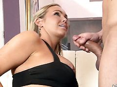 Will Powers makes Abbey Brooks with gigantic knockers suck his beefy love wand non-stop before she takes it in her deadeye