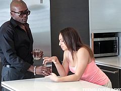 Young Sara enters neighbor's house and seduces the black guy living next door. He can't stop after seeing the soft natural tits, delicious cunt and amazing ass offered to him. He kissed her, drilled her pussy, spanked her ass. Why not, he did everything like she is his original girlfriend.