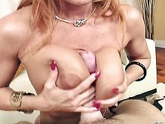 Janet Mason spends her sexual energy with throbbing meat stick in her mouth