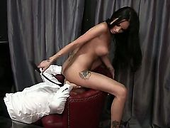 Hot babe with a huge ass likes to be on top. She also likes to dominate men so she uses her huge ass to do some face sitting while spanking a guy with her stick.