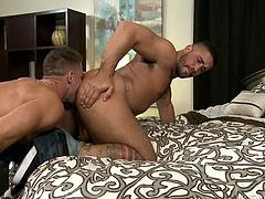 Trey Turner and Armando De Armas show us what is the best gay porn about! These two muscular hunks go at it hardcore. Swallowing a big dick, before taking it whole deep inside his ass, is a real hardcore stuff we all been looking for. Only big men with big cocks here, and you know you gotta watch it!