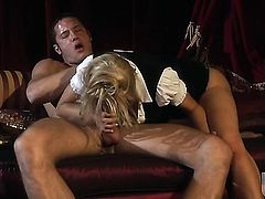 Huge ass blonde is riding dick