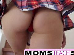 Hot threesome for stepmom and young schoolgirl 65