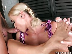 Kathia Nobili enjoys intense cock sucking in steamy oral action with lucky guy