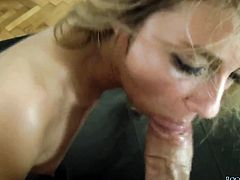 Smoking hot sex kitten Natasha D giving deep blowjob to Rocco Siffredi after she gets fucked in her back swing