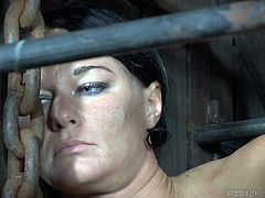 London is in quite a pickle. She's chained at the feet with a noose around her neck, the rope secured from above. If she doesn't keep her body elevated, she'll choke. Too bad. Now, the unruly slut is caged. When will she ever learn?