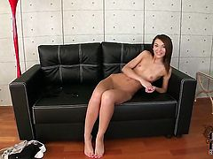 Alexis Brill with shaved pussy toys her love box