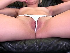 This short haired blonde pixie will do anything for some nice cold hard cash. When she is handed the money, she strips and joins in the threesome with this beautiful couple. The cutie pie gets her perky boobs licked by the man and her cunt rubbed by the babe. Her mouth is stuffed with dick.