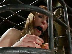 Caged porn bondman Mallory Mallone having Her coochie Toyed By Dominatrix