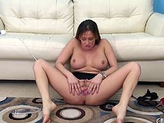 First she uses her vibrator then she throats her glass toy