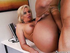 Blonde with phat ass and smooth pussy places her around the man meat and then moves it up and down