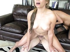 Nikki Daniels plays with Tommy Pistols throbbing tool before she takes it in her mouth