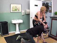 Blonde Deviant Kade is skilled enough to make guy cum again and again