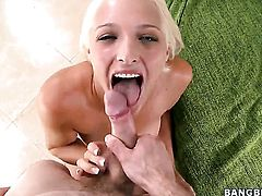 Blonde is giving a blow job