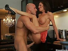 Veronica Avluv with large milk sacks and hairless wet crack is completely addicted to fuck and Johnn