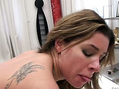 Rocco Siffredi buries his sturdy rod in juicy Ally Breelsens mouth after she takes it in her backdoor