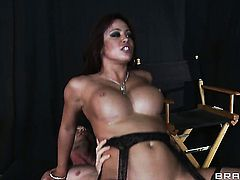 Brunette Jordan Ash  Voodoo with huge jugs gets the pleasure from interracial fucking like never before