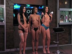 Today's guest is Rosa Acosta, a multitalented lady who is brought in with your ever-present hosts. After the interview, there is a little modeling contest, with Rosa as the judge. The ladies are topless of course, and all are beautiful.