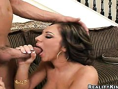 Brunette with clean bush and her hard cocked fuck buddy are in the mood for oral sex