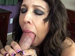 Healthy dark haired has undressed And Starts eating the big Cock!