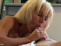 Sexy blonde mature fucks the gardener