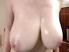 With huge boobs and clean twat cant live a day without playing with her bush