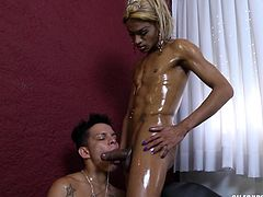 I oiled up this muscular tranny and she loved it. She wanted my tight asshole, so the blonde Avilla bent me over and rammed me deep, and hard. The hot shemale stretched out my anus like never before. I went ass to mouth and blew her.