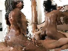 Brunette with big butt and hairless pussy sucks like it aint no thing in oral action with hot bloode