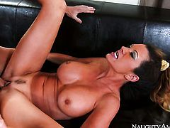 Brunette Raquel DeVine gives handjob on camera for your viewing pleasure