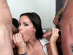 With huge melons and clean muff and horny fuck buddy are so fucking horny in this dick sucking action